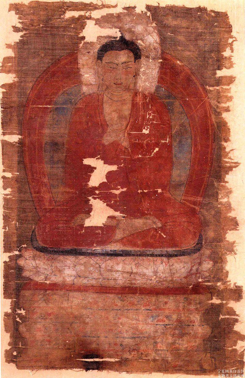 彩绘《阿弥陀佛坐像图》