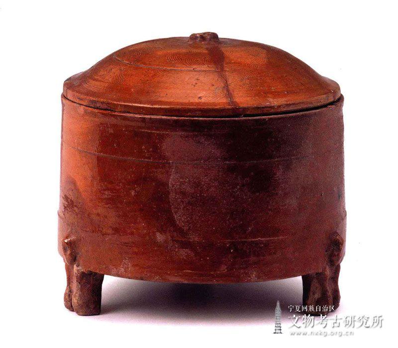 酱黄釉陶奁
