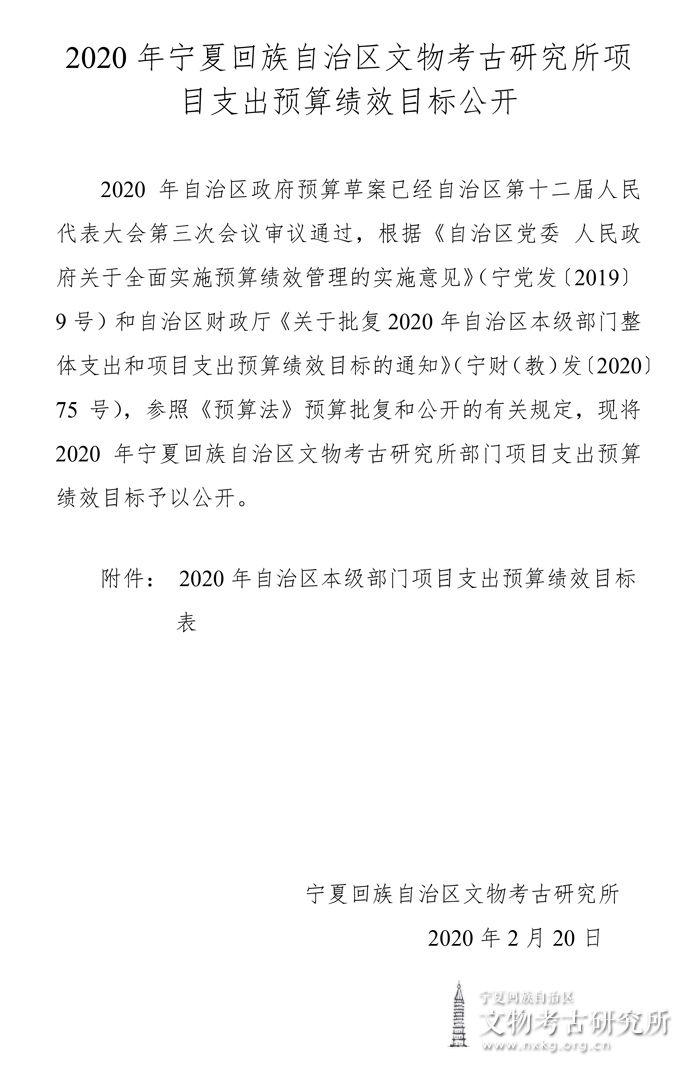 2020年宁夏回族自治区文物考古研究所部门项目支出预算绩效目标公开