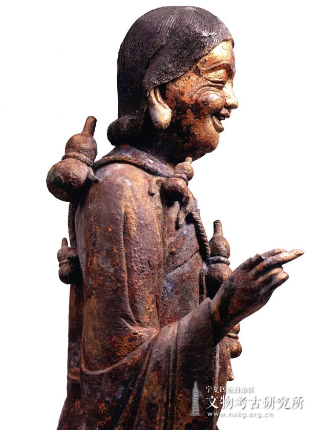 鎏金拾得铜造像