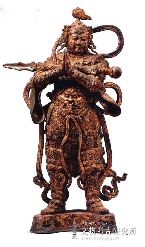鎏金韦驮铜造像