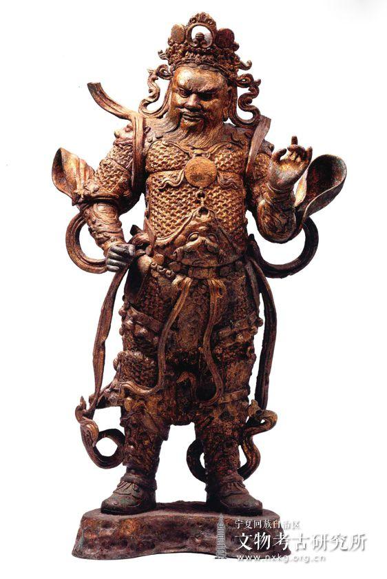 鎏金天王铜造像
